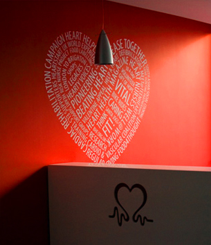 A mural for the British Heart Foundation offices based on their 2008 annual review by Sennep