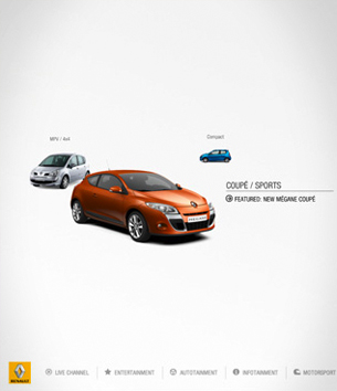 Website design for Renault's TV channel featuring bespoke and exclusively commissioned content.
